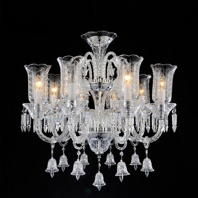 Lámpara de Araña de cristal sala de estar de Lujo styl Gran Araña de cristal de luz de la escalera de luz de vela romántica vela lámpara colgante