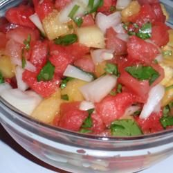 Watermelon Salsa: Salad, Hot Sauce, Watermelon Salsa, Food, Salsa Recipe, Appetizers, Allrecipes Com