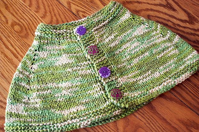 """I had 2 skeins of this gorgeous Lion Brand organic cotton yarn that needed a project. My mom swears that ponchos are back """"in"""" so I decided to knit my 5-year-old a poncho she can wear in the Spring. I wrote this pattern as I knitted the poncho – so if you have any problems...Read more ..."""