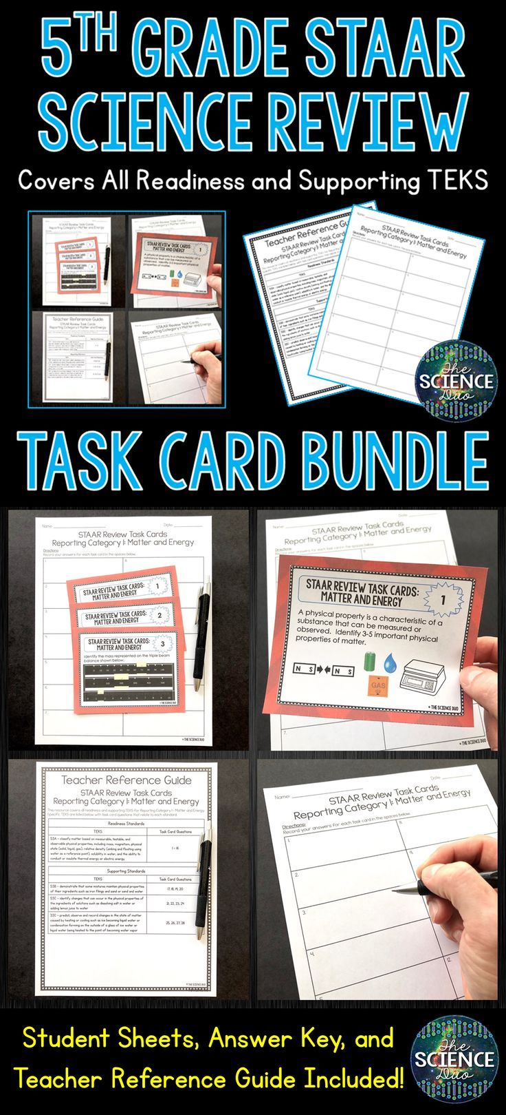 5th Grade Science STAAR Review Task Cards Bundle - Distance Learning    Science staar [ 1619 x 736 Pixel ]