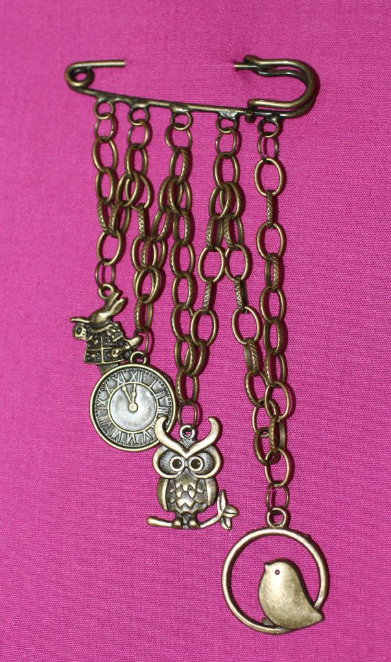 Steampunk Kilt Pin Brooch Chain and Charms by FeltAmazed on Etsy, £6.40 reduced from £8.00!
