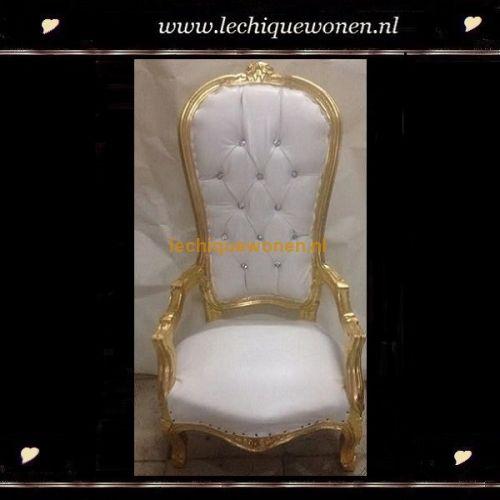 Nieuw barok kinder fauteuil little king chair goud wit sky | Le Chique Wonen