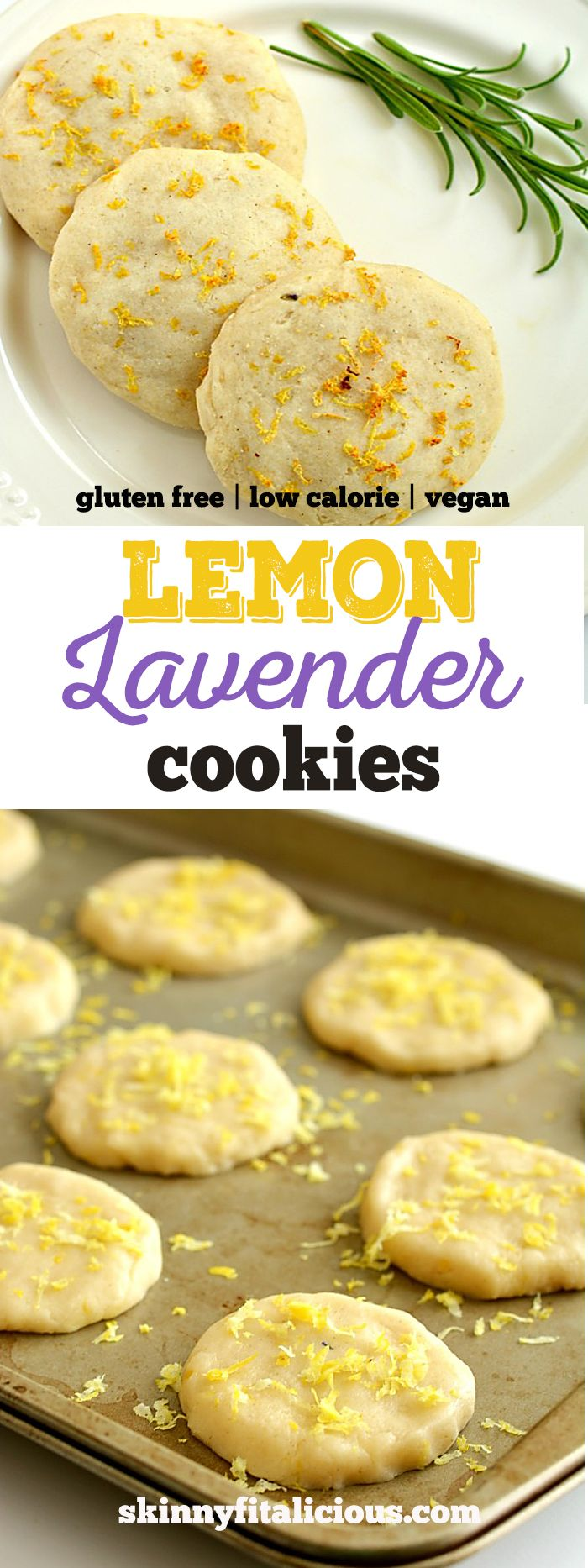 Healthy Lemon Lavender Cookies are perfect for warm weather! Packed with citrus, these Vegan, gluten free cookies are light, refreshing and subtly sweet. Gluten Free + Low Calorie + Vegan
