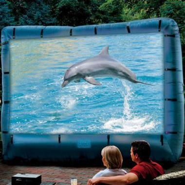 Pool party / Oscar viewing party? We think yes. Inflatable Movie Screen - #SkyMall #Oscars