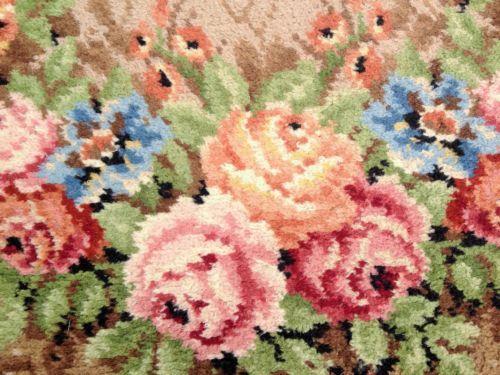 Shabby Cottage Vintage Floral Rug Linoleum