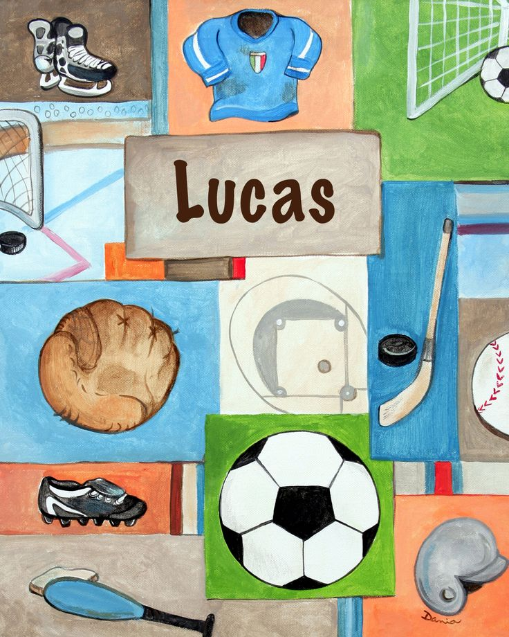 Personalized and Hand Painted Sports Canvas Wall Art for Boys Rooms / Nursery Rooms by www.caribimbi.com