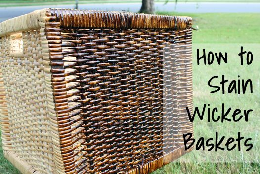 Tutorial: How to stain wicker baskets at View Along the Way - GENIUS! I have a natural willow basket that I wish was a darker color. It never occurred to me to stain it!