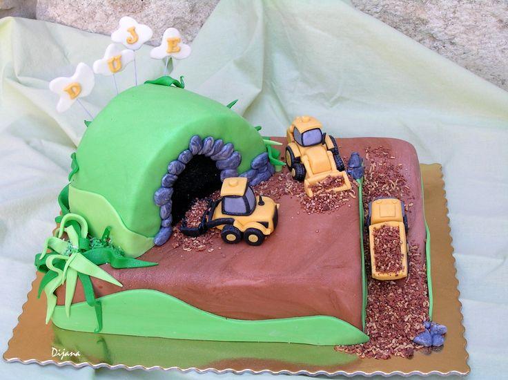 excavators and trucks cake