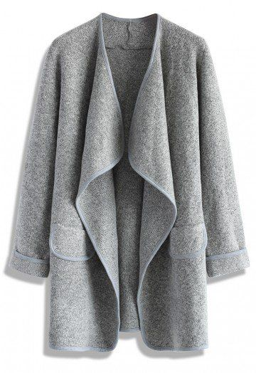 """Staying on point this fall has is going to be so enviably easy. The soft grey hue and simplistic silhouette scream, """"I'm not even trying."""" The sleekness whispers, """"But I nailed it anyway."""" - Mid-weight textured woven fabric - Fake pockets - Wide lapels - Open front - Folded cuffs, flap pockets in front - Regular fit - 100% Acrylic - Dry clean only Size(cm) Length Bust Shoulder Sleeves S/M       84    Free    40     57 L/XL       85    Free  ..."""
