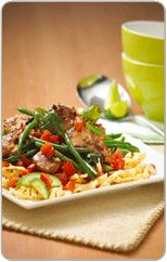 Sweet chilli and basil stir fry with crispy noodles