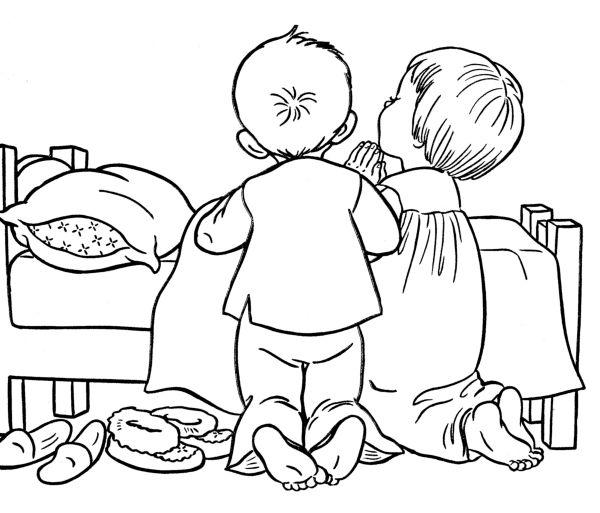 Coloring Page Children Praying