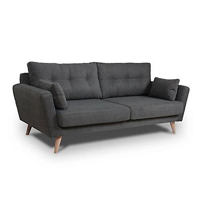 Canapé 3 places fixe en tissu gris