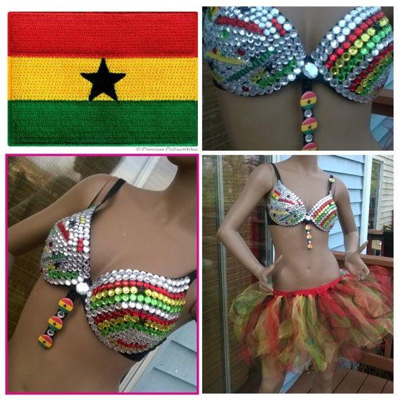 Rhinestone Bra Ghana Flag bra with or without от Smokinghotdivas