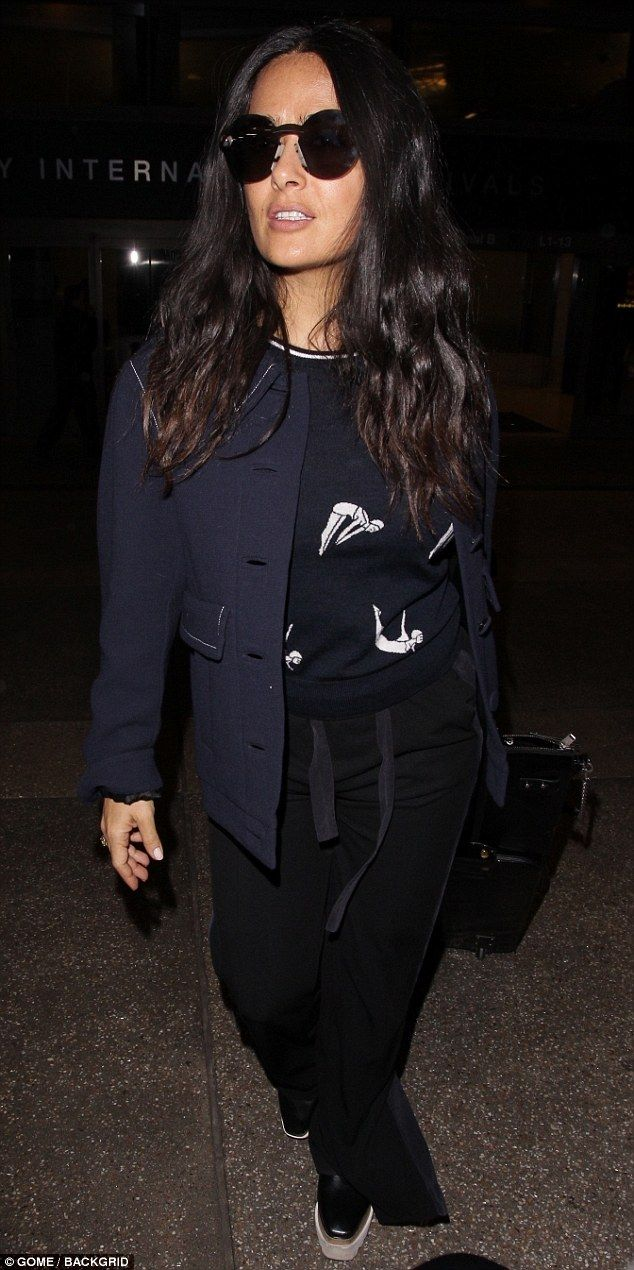 Salma Hayek arrives at LAX after spending time in London  Salma Hayek touched down in Los Angeles Monday night.  The 51-year-old actress spent the weekend across the pond for London Fashion Week and the British Academy Film Awards.  She tickled the crowd with her presentation of best actor when she said In this very important and historical year for women I am here on this legendary stage to celebrate men.  Red eye! Salma Hayek touched down in Los Angeles Monday night after spending the…