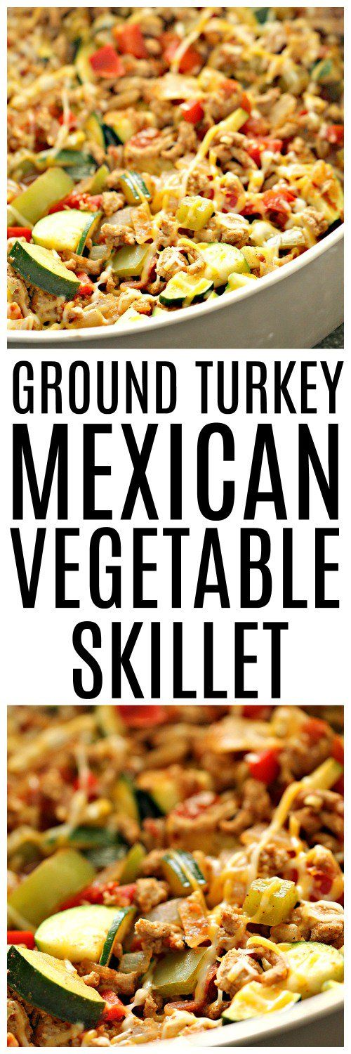 Ground Turkey Mexican Vegetable Skillet – Six Sisters' Stuff | This easy, healthy skillet dinner comes together in a matter of minutes. It's low in carbs, high in protein, and loaded with vegetables! #healthydinner #sixsistersrecipes #dinnerrecipe #healthymeals