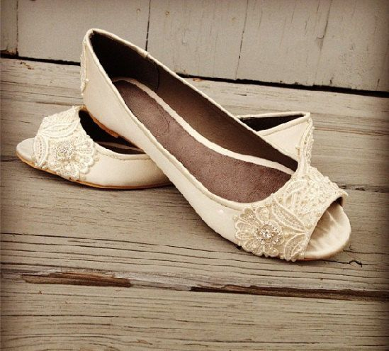 French Pleat Open Toe Ballet Flats Wedding Shoes by BeholdenBridal