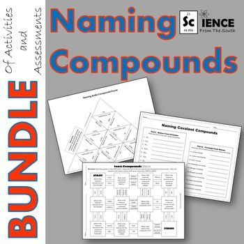 Use this download for reviewing and assessing your students' understanding of chemical nomenclature and naming of ionic, covalent, and acidic compounds.  There are 15 different downloads including puzzles, mazes, and worksheets in the bundle to help your students learn how to name chemical compounds:  Chemical Formulas Graphic Organizer, Chemical Formulas Worksheet, Color by Number of Atoms, Covalent Compounds Maze, Ionic Compounds Maze, Naming Acidic Compounds Puzzle, Naming Acidic…