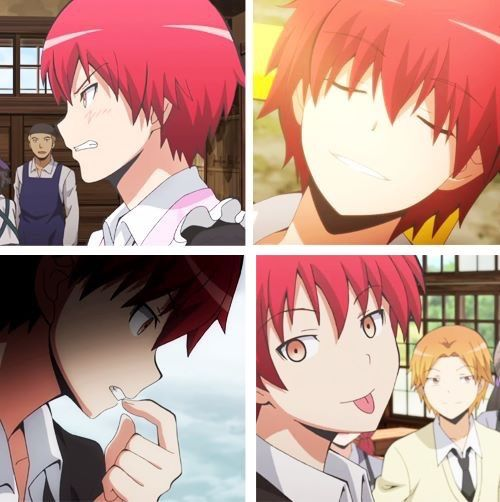 "Akabane Karma is a badass, has sexy voice, is ridiculously smart, dubbed Irina as ""the bitch sensei"" lol he is definitely my favorite. xD"