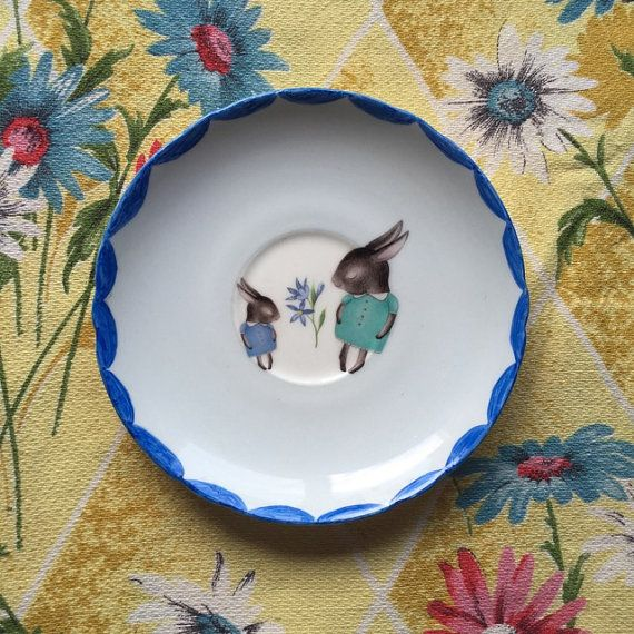Shy Bunny Blues Vintage Illustrated Plate by thestorybookrabbit
