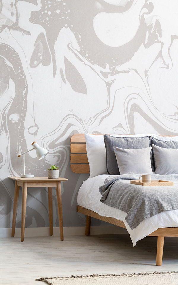Papier Peint Fresque Marbré Gris Et Blanc Wallpaper