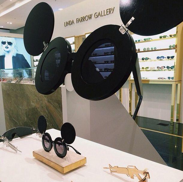 Linda Farrow X Jeremy Scott Display Featuring Oversized 'Mickey' Sunglasses by Elemental Design.