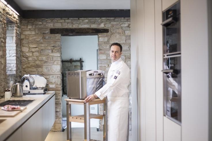 "Luca Marchini owner of the Restaurant ""Erba del Re"" in Modena, Italy www.lerbadelre.it, Michelin Star, is WeGrill addicted. www.wegrill.eu"