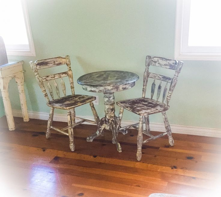 Shabby chic table & chair set, distressed white, blue hues, copper undertones on solid oak, farmhouse, matching, upcycled, antique, set by ReincarnatedwithLove on Etsy https://www.etsy.com/listing/197075206/shabby-chic-table-chair-set-distressed