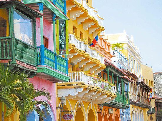 Casas coloridas em Cartagena, Litoral da Colômbia