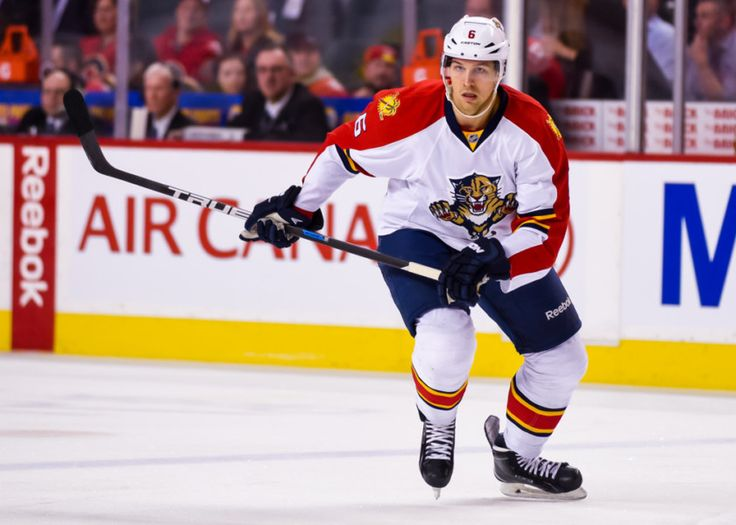 Florida Panthers Defenceman Alex Petrovic (6) [7942] during an NHL Hockey game between the Calgary Flames and the Florida Panthers at the Scotiabank Saddledome in Calgary, AB. (Photo by Jose Quiroz/Icon Sportswire)