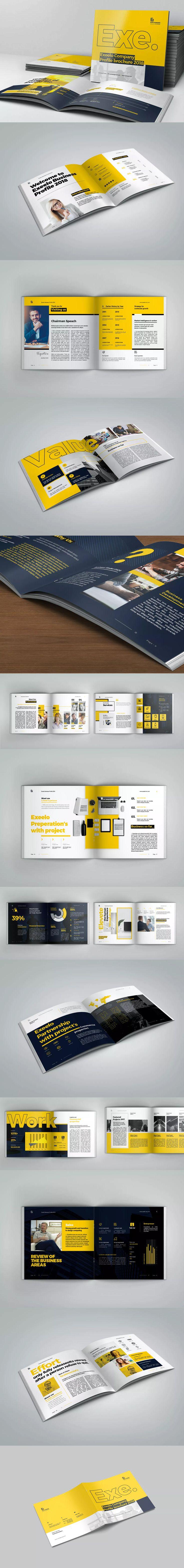 Square Company Profile Template InDesign INDD - A4