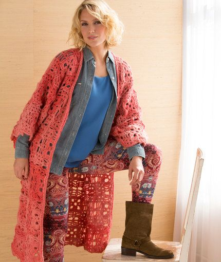 This would make a good cover-up from the pool. However, it might ruin the yarn . . .   Long & Lacy Duster