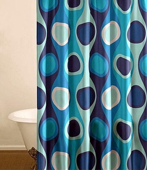 Blue Geometric Pattern Shower Curtain Bathroom Ideas