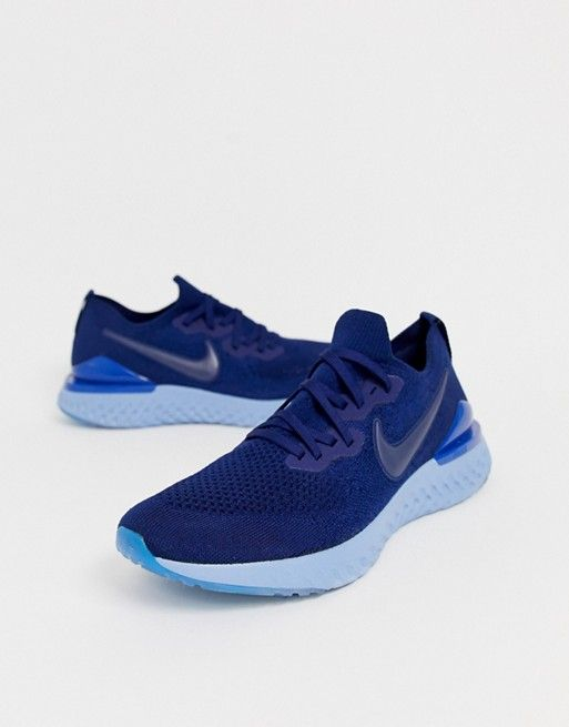 nike running epic react 2 flyknit trainers in navy