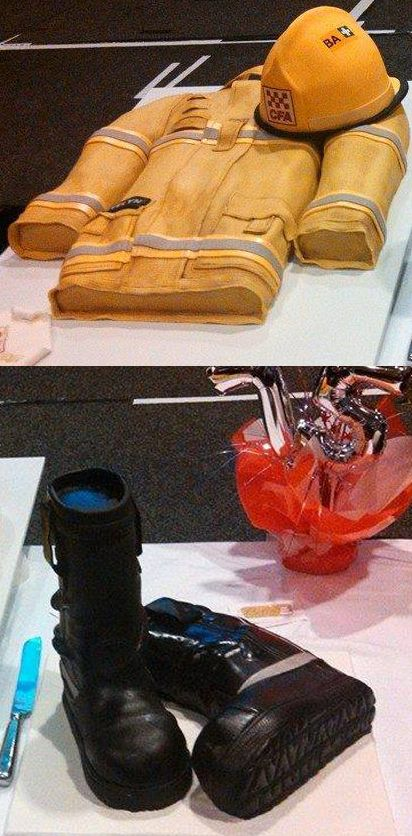 Firefighter Helmet, Turnout Coat & Boots Fire House Anniversary Cakes | Shared by LION