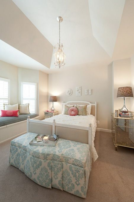 Soft Pink Wall Colors and Modern Brown Beds Furniture in Teenage Bedroom Decorating Design Ideas Pink Teenage Bedroom Color Scheme Decoratio...