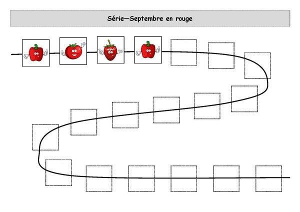 Fiche d'activité niveau maternelle - Logigramme - Série 3 images - Septembre en rouge