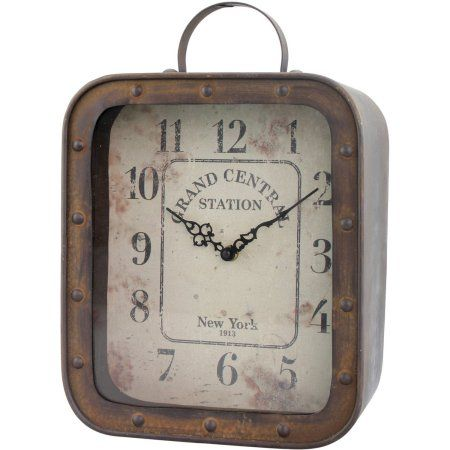 Grand Central Station Square Rustic Tabletop Clock, Brown