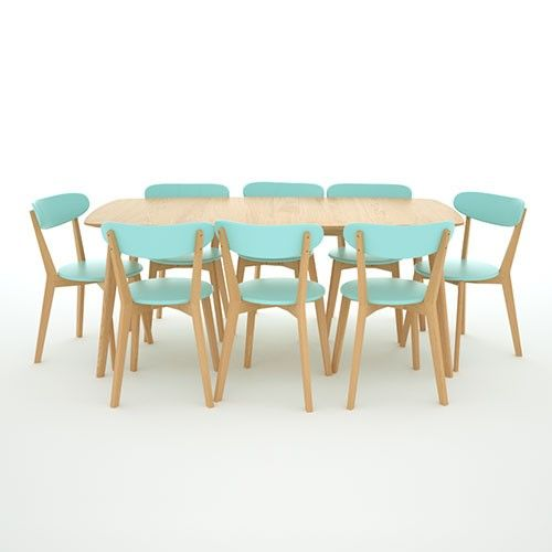 Oak & Turquoise 8 seater square table