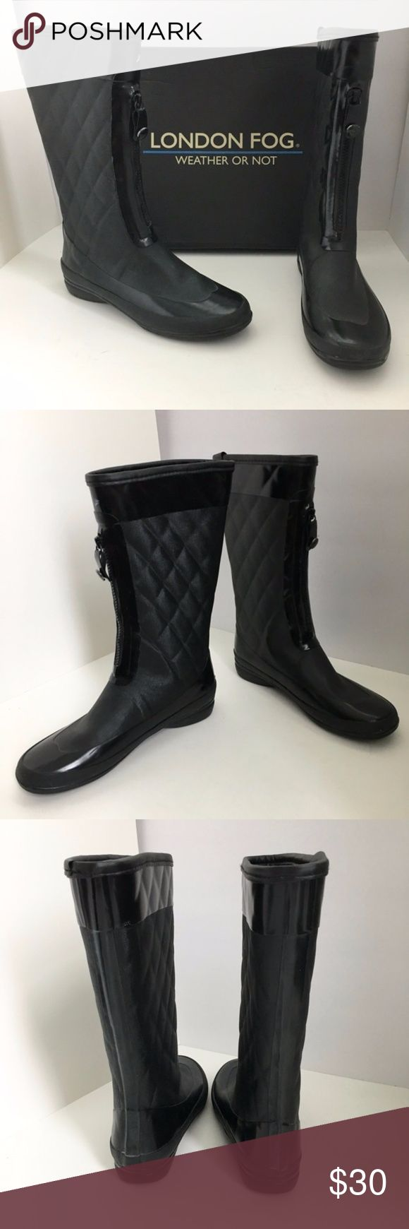 London Fog Quilted Tribeca Rain Boots, Black The Tribeca boot will keep your feet dry and cozy in any weather.  It features patent trim, quilted shaft pattern and a partial front zip for easy access.  Heel height 1 inch.  Shaft height 11 inches.  100% rubber upper.  Size is 8M, but fit a normal 8.5 wearer also.    Lightly worn, in good condition (see photos).  Original box included.  🎈 Offers considered ✖️  No trades 🍍 Thanks for shopping.  Check out more items in my closet for a bundle…