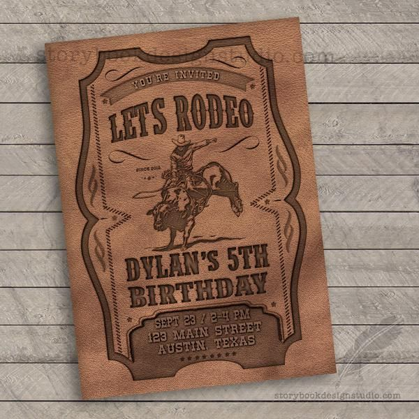 Leather Rodeo Birthday Party Invitations – Storybook Design Studio