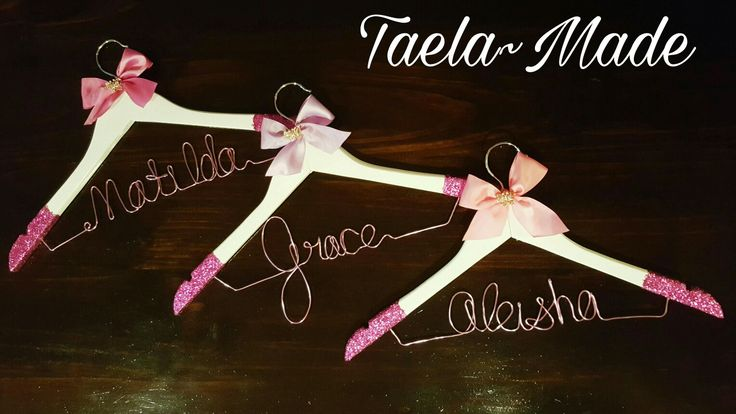 Pink glitter personalised coat hangers. DIY craft for the home  Taela-Made