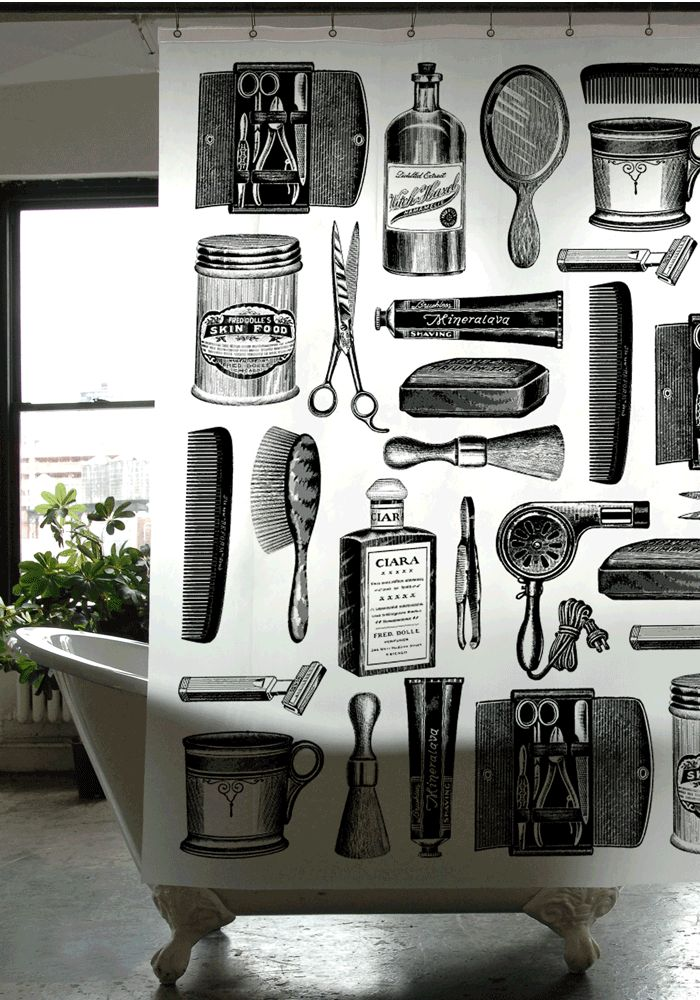 Handmade Manly Bathroom Accessories: Barber Shop Shower Curtain // Gifts For Guys