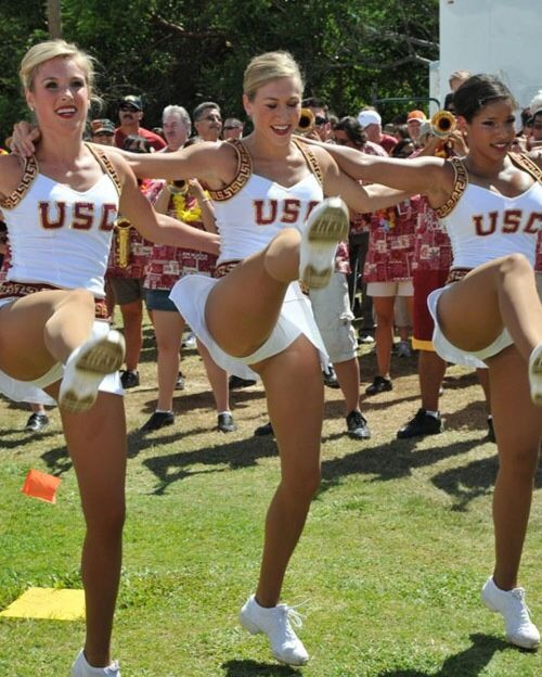 College cheerleader leg kicks pantyhose