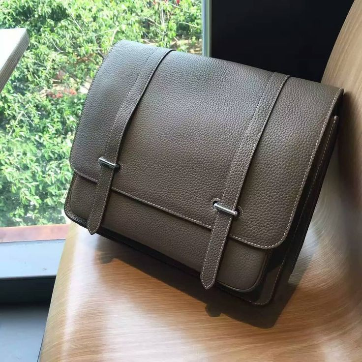 Hurry Up!2016 Hermes Bags for Men Outlet With Free Shipping-Hermes Steve Bag For Men in Taupe Taurillon Clemence