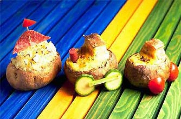 Fun And Easy Party Food RECIPES IMAGES | Make kids' party food exciting by turning potatoes into boats, cars ...