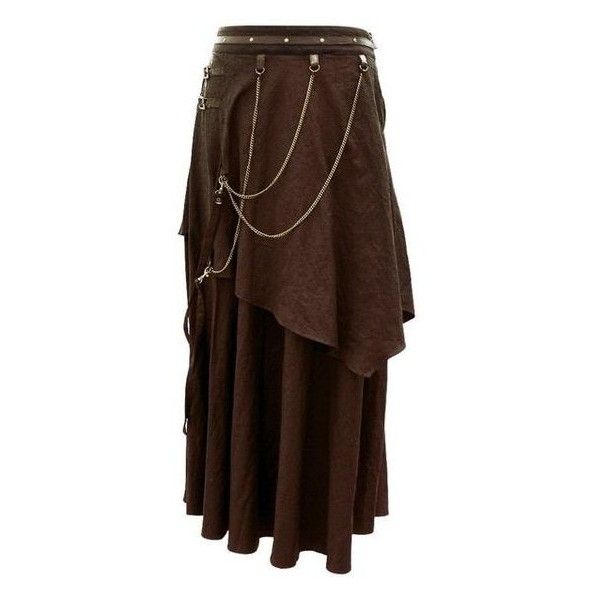 Steampunk Skirt EW-113-PO Brown Steampunk Skirt with Leather Belts ❤ liked on Polyvore featuring skirts, brown knee length skirt, brown skirt, brown leather belt, steam punk skirt and steampunk leather belt