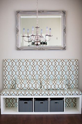 DIY Ikea Banquette Seat. for the front door with that antique headboard