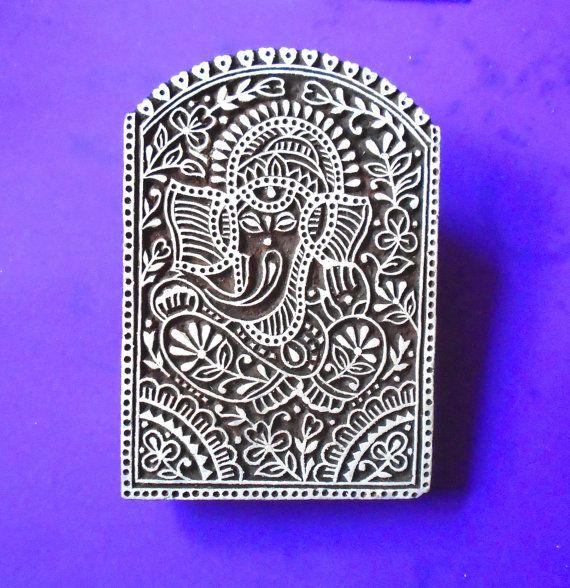 Large Ganesh Hand Carved Wood Stamp Big Indian by PrintBlockStamps