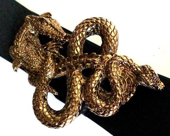 90cm Antique Gold Black Belt Dragon & Serpent Bronze Antique