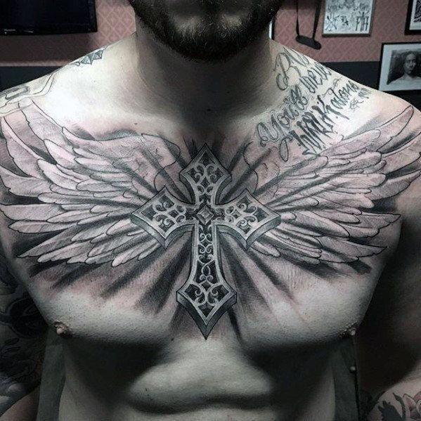Guys Badass 3d Cross With Angel Wings Shaded Chest Tattoo Designs Ultracooltattoos Menstattoos Tatuagem No Peito Tatuagem Asas Cruz Com Asas